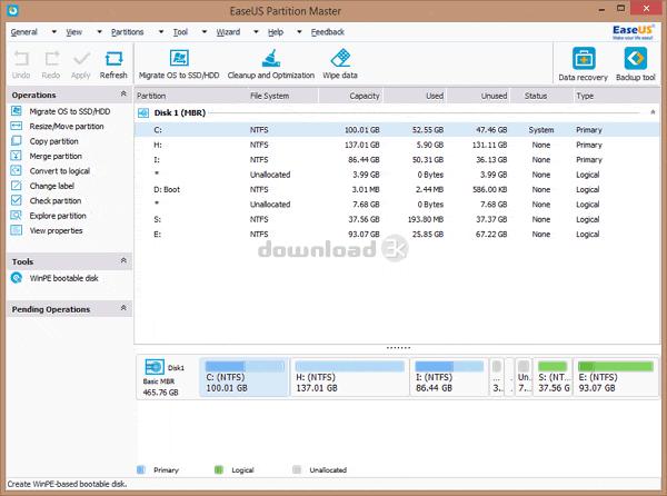 EaseUS Partition Master Home Edition est une solution de partition gratuite et tout-en-un possédant une interface facile à utiliser ; il fournit un Gestionnaire de partition, un Assistant de récupération de partition et une Copie de disque & de partition afin de résoudre tous les problèmes de disque/partition.